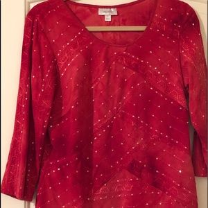 Dress Barn Top Red Sequins Large Holiday Sparkle